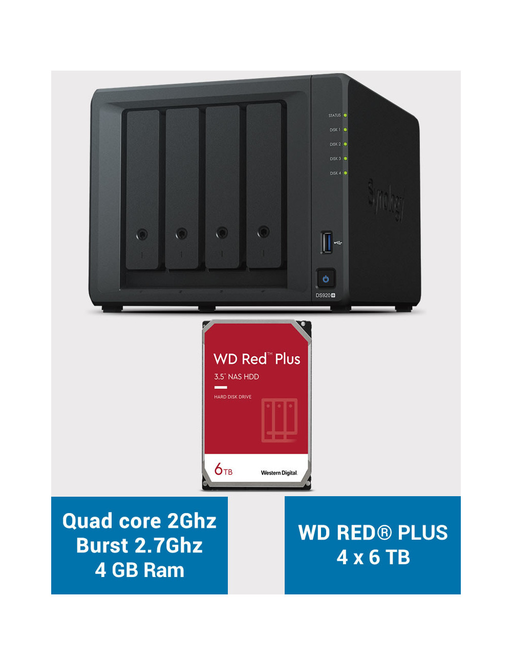 Synology DS920+ 4GB Serveur NAS WD RED PLUS 24To (4x6To)