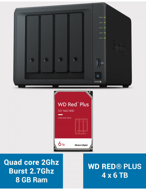Synology DS920+ 8GB Serveur NAS WD RED PLUS 24To (4x6To)
