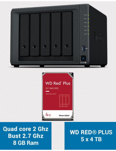 Synology DS1520+ 8GB Serveur NAS WD RED PLUS 20To (5x4To)