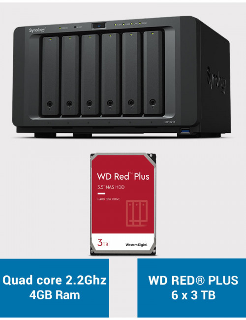 Synology DS1621+ Serveur NAS WD RED PLUS 18To (6x3To)