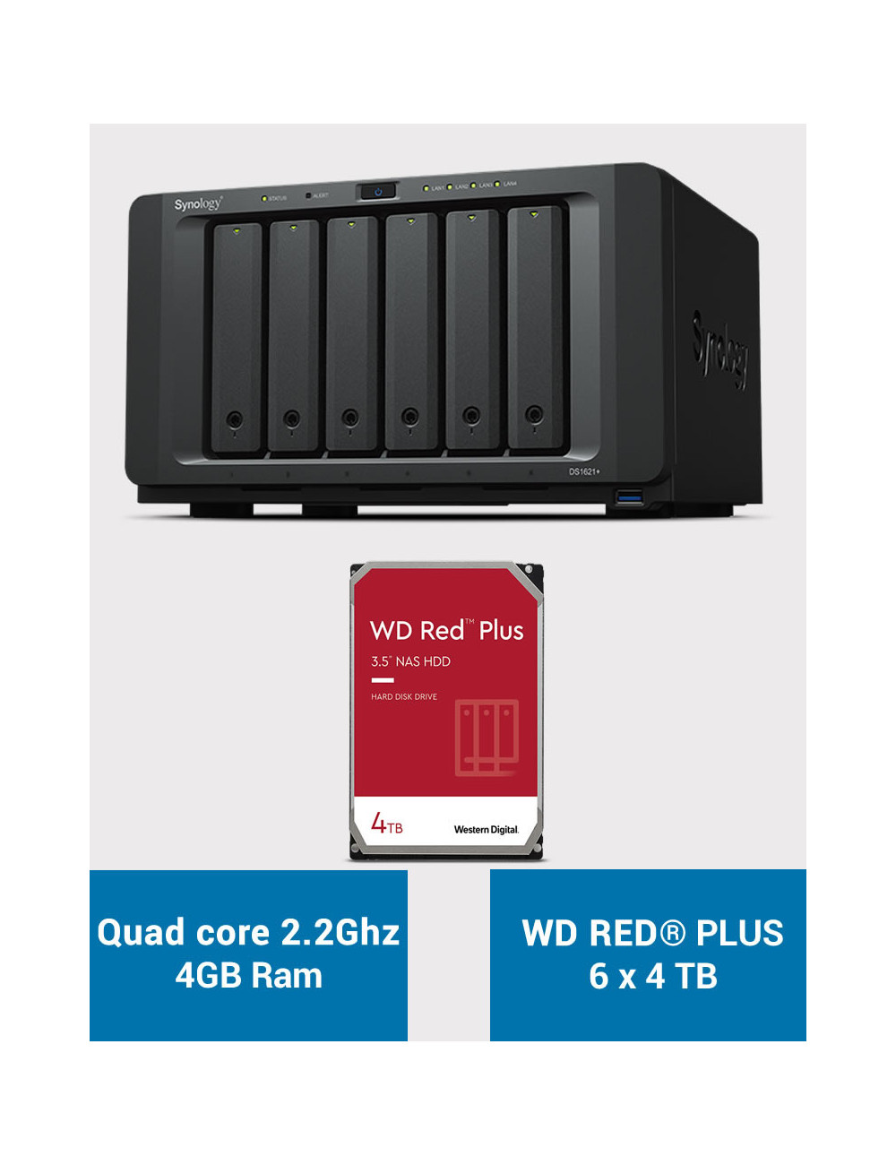 Synology DS1621+ Serveur NAS WD RED PLUS 24To (6x4To)