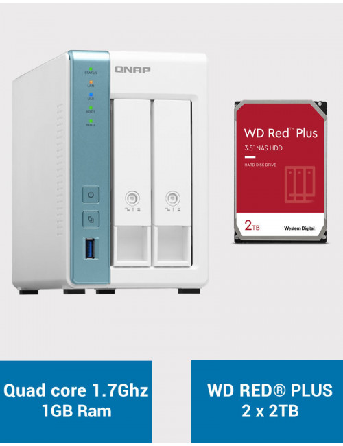 QNAP TS-231K Serveur NAS WD RED PLUS 4To (2x2To)