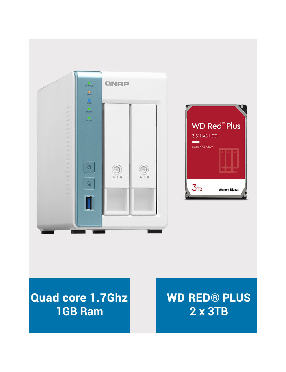 QNAP TS-231K Serveur NAS WD RED PLUS 6To (2x3To)