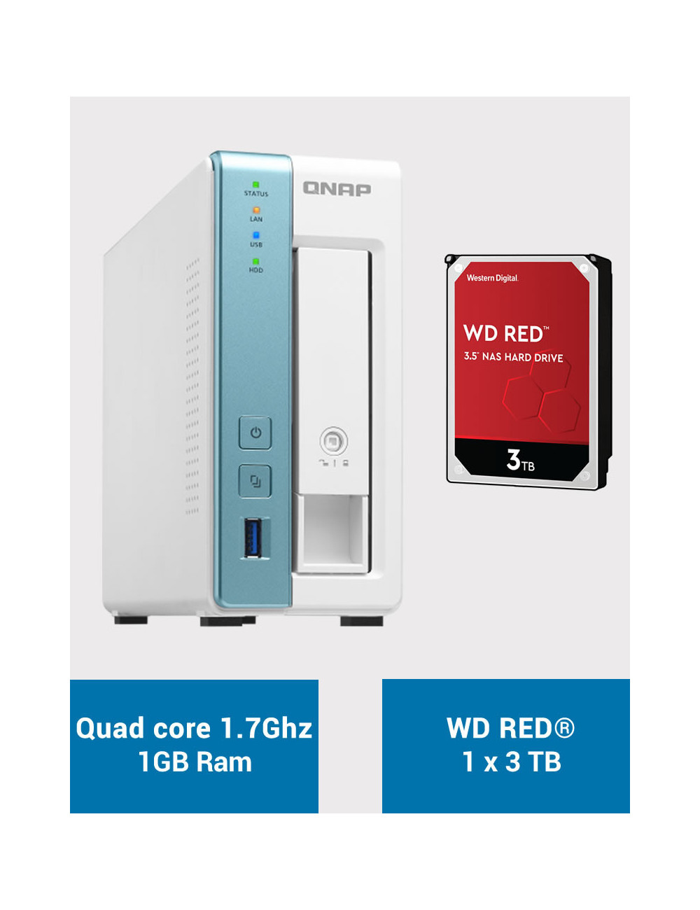 QNAP TS-131K Serveur NAS WD RED 3To (1x3To)