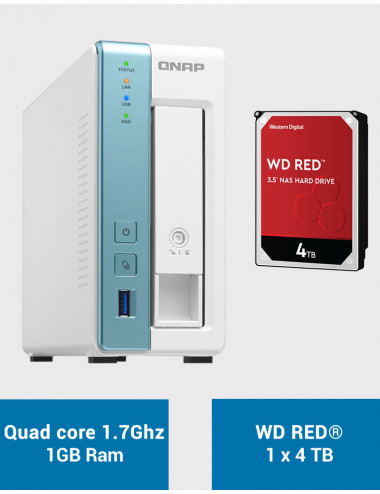 QNAP TS-131K Serveur NAS WD RED 4To (1x4To)