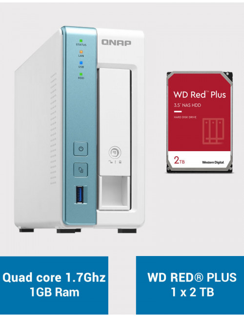 QNAP TS-131K Serveur NAS WD RED PLUS 2To (1x2To)