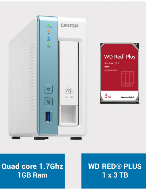 QNAP TS-131K Serveur NAS WD RED PLUS 3To (1x3To)