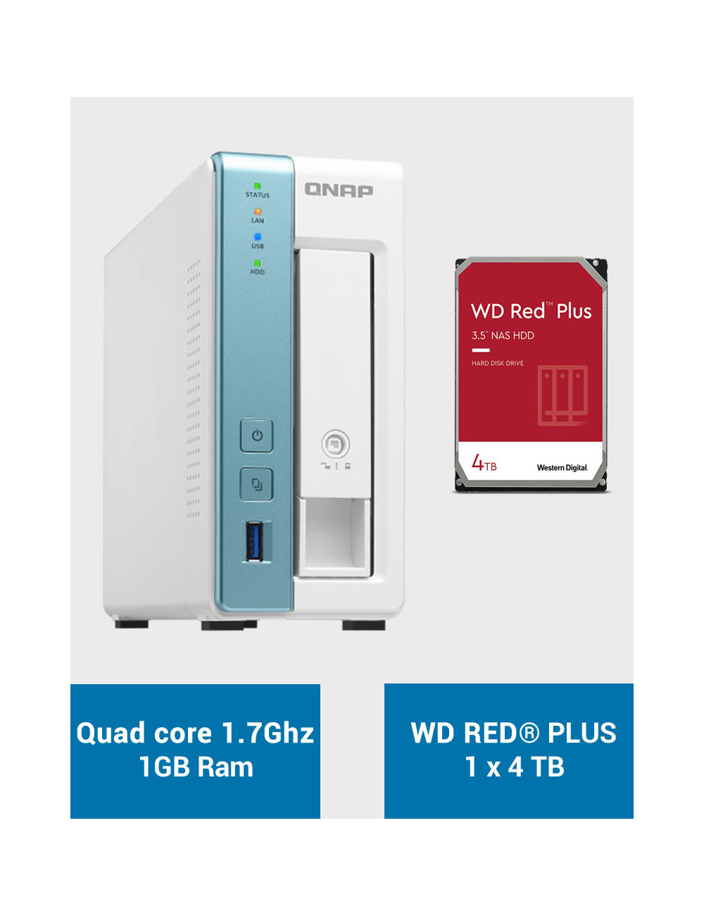 QNAP TS-131K Serveur NAS WD RED PLUS 4To (1x4To)