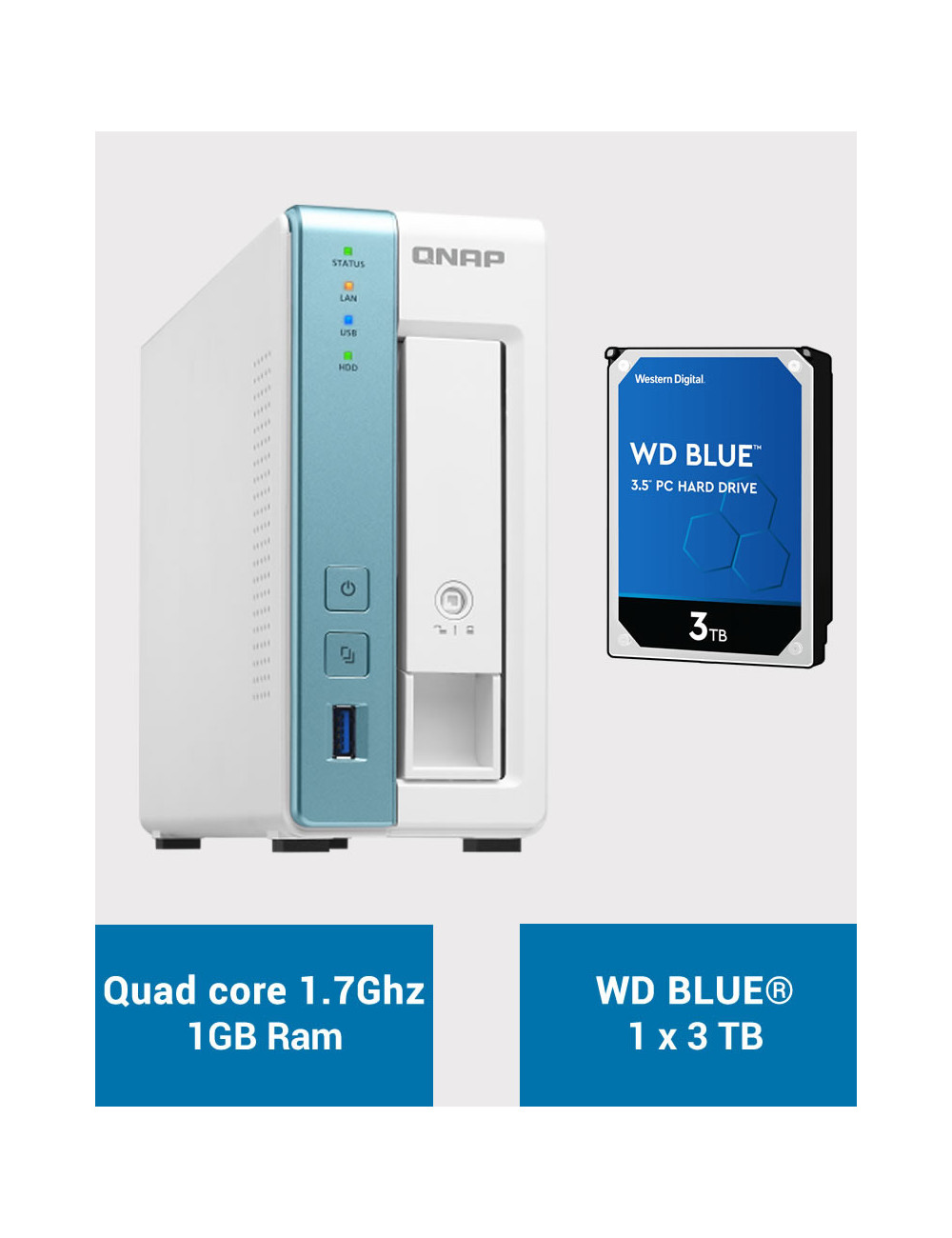 QNAP TS-131K Serveur NAS WD BLUE 3To (1x3To)