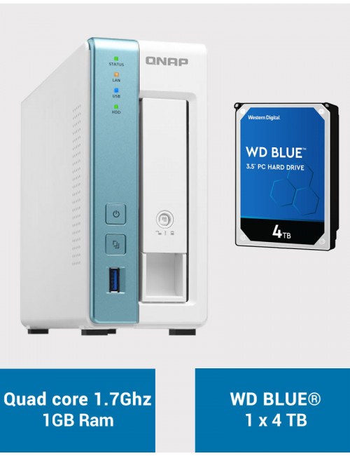 QNAP TS-131K Serveur NAS WD BLUE 4To (1x4To)