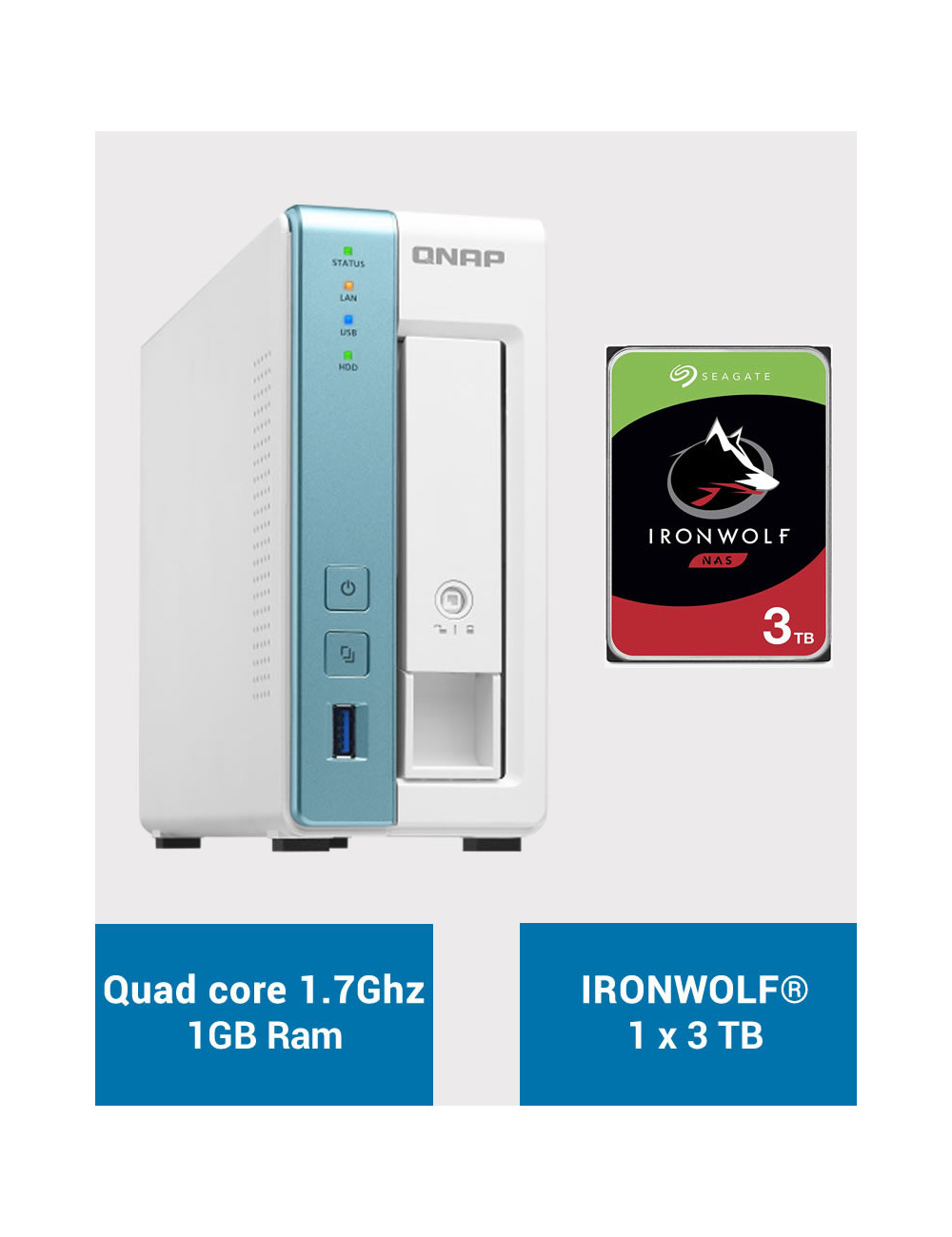 QNAP TS-131K Serveur NAS IRONWOLF 3To (1x3To)