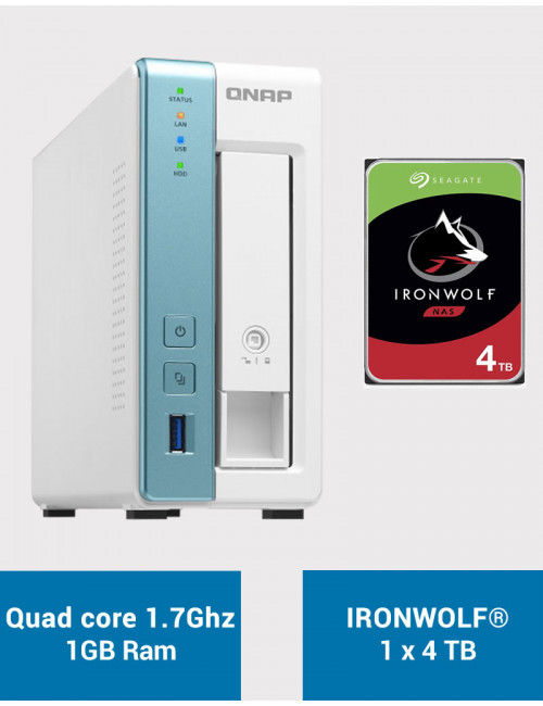 QNAP TS-131K Serveur NAS IRONWOLF 4To (1x4To)