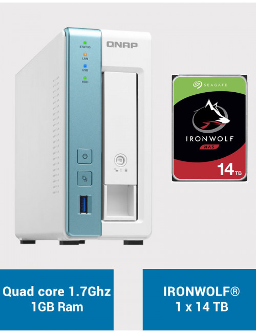 QNAP TS-131K Serveur NAS IRONWOLF 14To (1x14To)