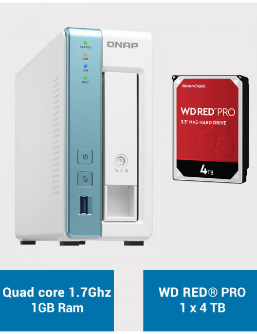 QNAP TS-131K Serveur NAS WD RED PRO 4To (1x4To)