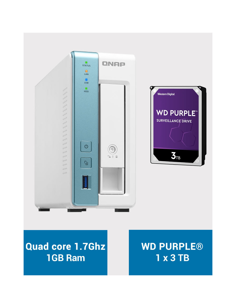 QNAP TS-131K Serveur NAS WD PURPLE 3To (1x3To)