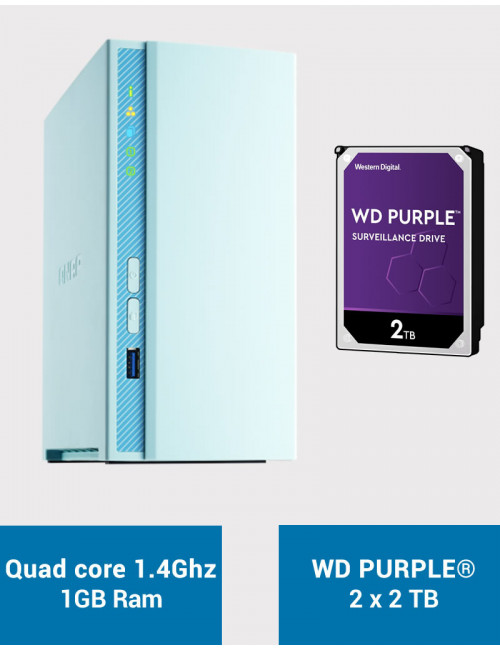 QNAP TS-230 Serveur NAS WD PURPLE 4To (2x2To)