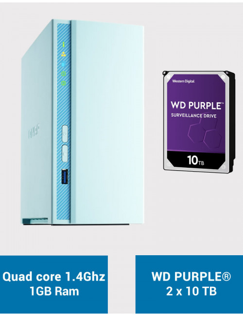 QNAP TS-230 Serveur NAS WD PURPLE 20To (2x10To)