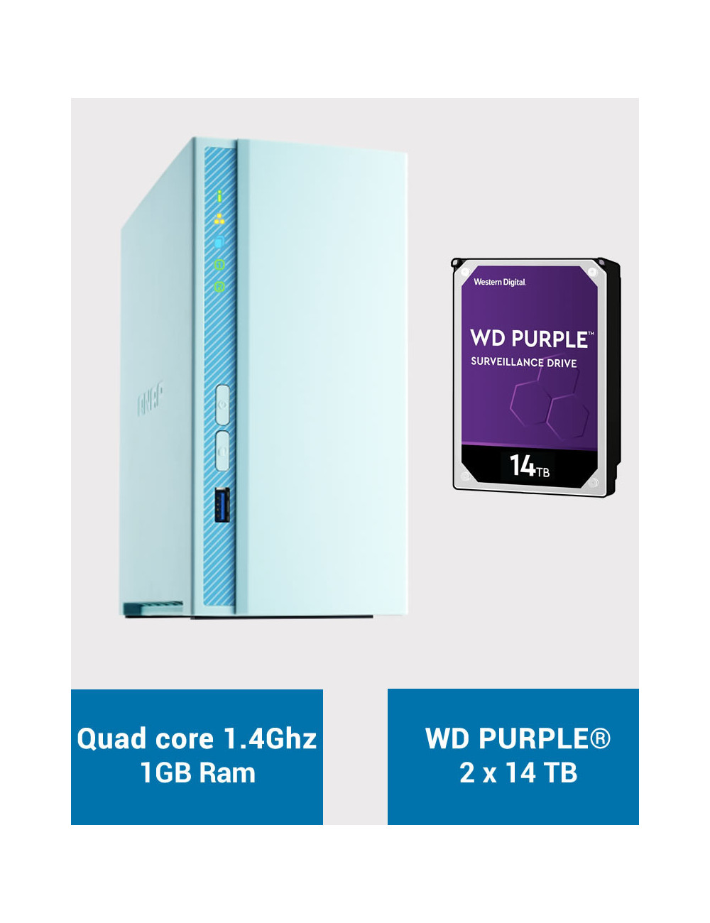 QNAP TS-230 Serveur NAS WD PURPLE 28To (2x14To)