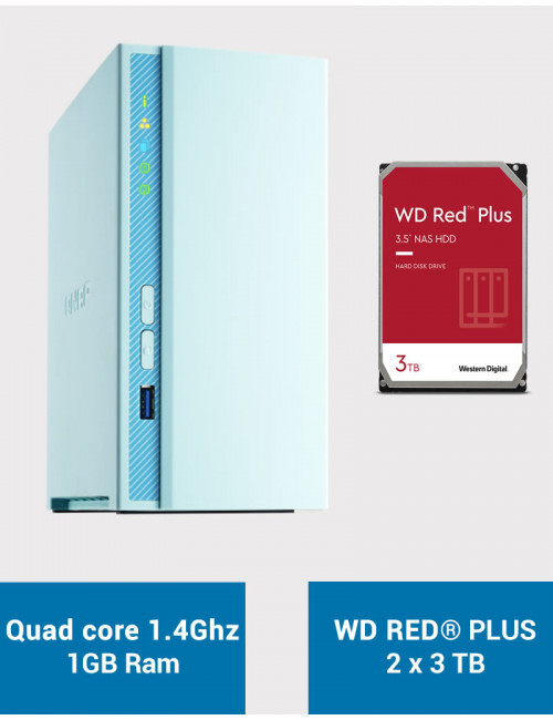 QNAP TS-230 Serveur NAS WD RED PLUS 6To (2x3To)
