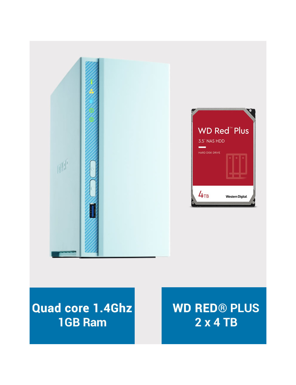 QNAP TS-230 Serveur NAS WD RED PLUS 8To (2x4To)