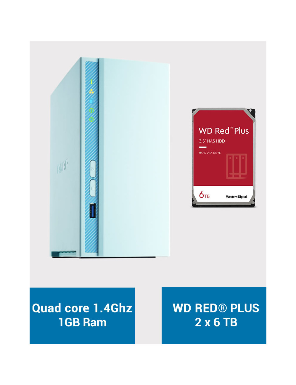 QNAP TS-230 Serveur NAS WD RED PLUS 12To (2x6To)