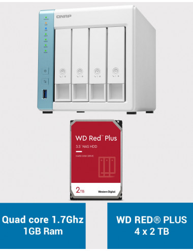 QNAP TS-431K Serveur NAS WD RED PLUS 8To (4x2To)