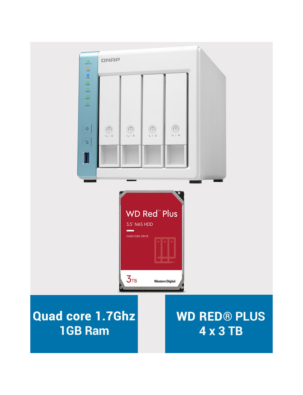 QNAP TS-431K Serveur NAS WD RED PLUS 12To (4x3To)