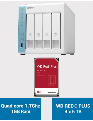 QNAP TS-431K Serveur NAS WD RED PLUS 24To (4x6To)