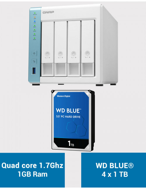 QNAP TS-431K Serveur NAS WD BLUE 4To (4x1To)
