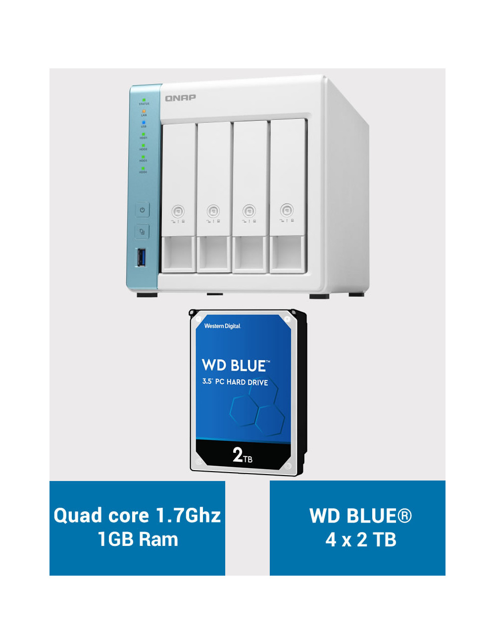 QNAP TS-431K Serveur NAS WD BLUE 8To (4x2To)