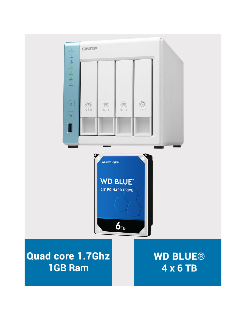 QNAP TS-431K Serveur NAS WD BLUE 24To (4x6To)