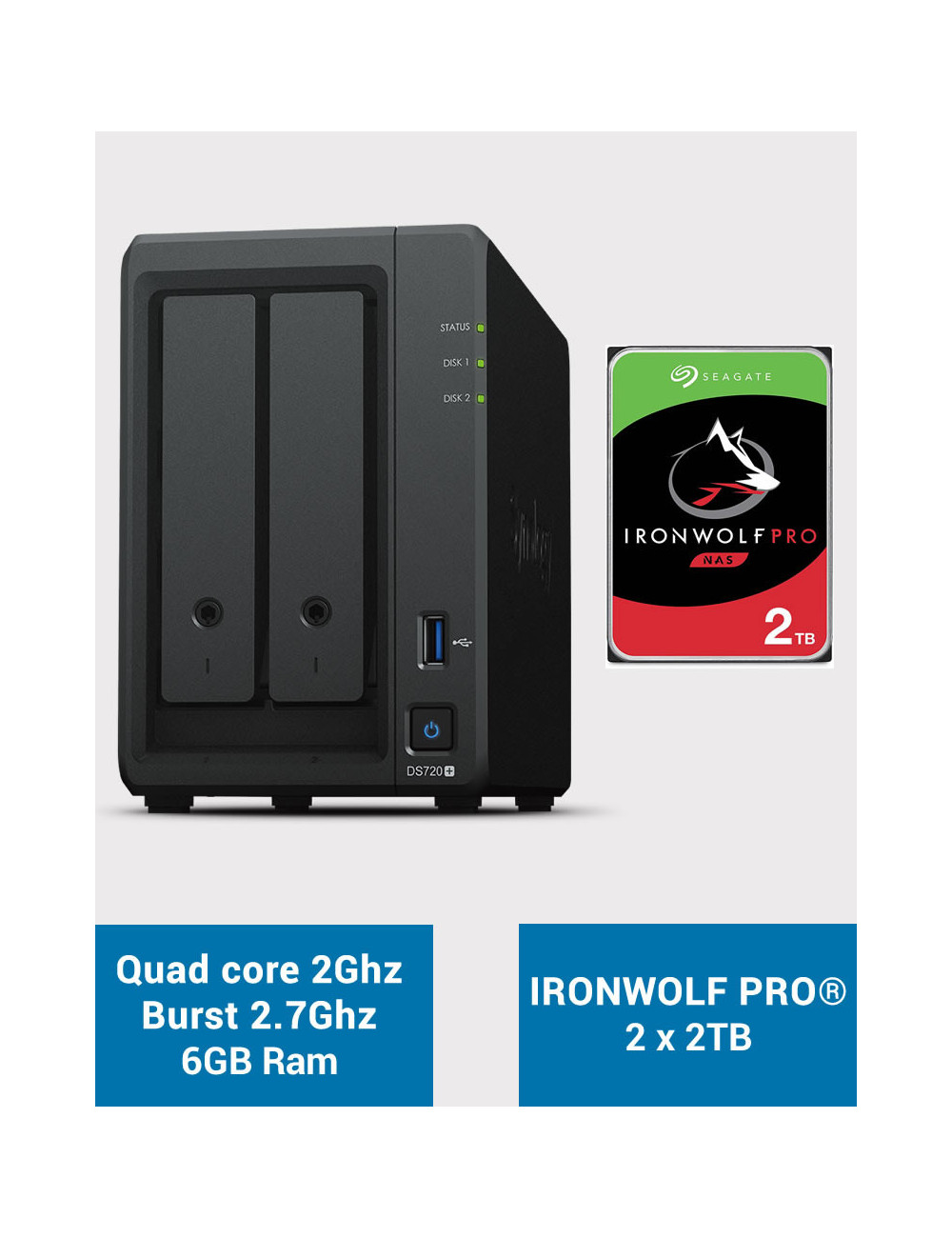 Synology DS720+ 6Go Serveur NAS IRONWOLF PRO 4To (2x2To)