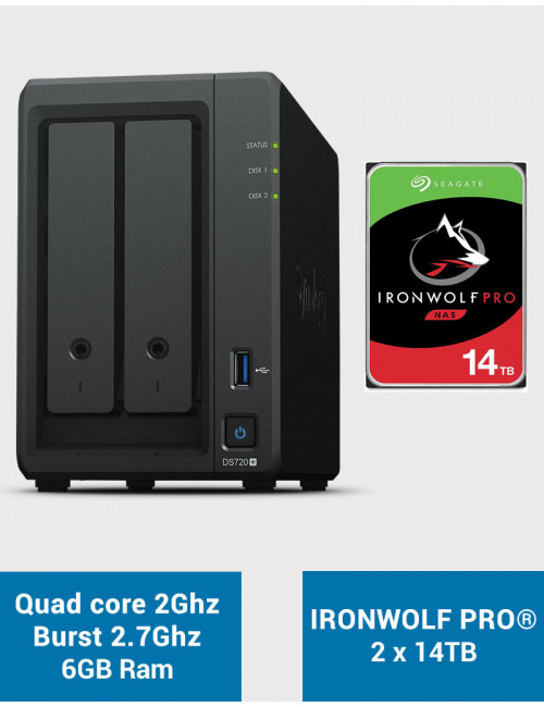Synology DS720+ 6Go Serveur NAS IRONWOLF PRO 28To (2x14To)