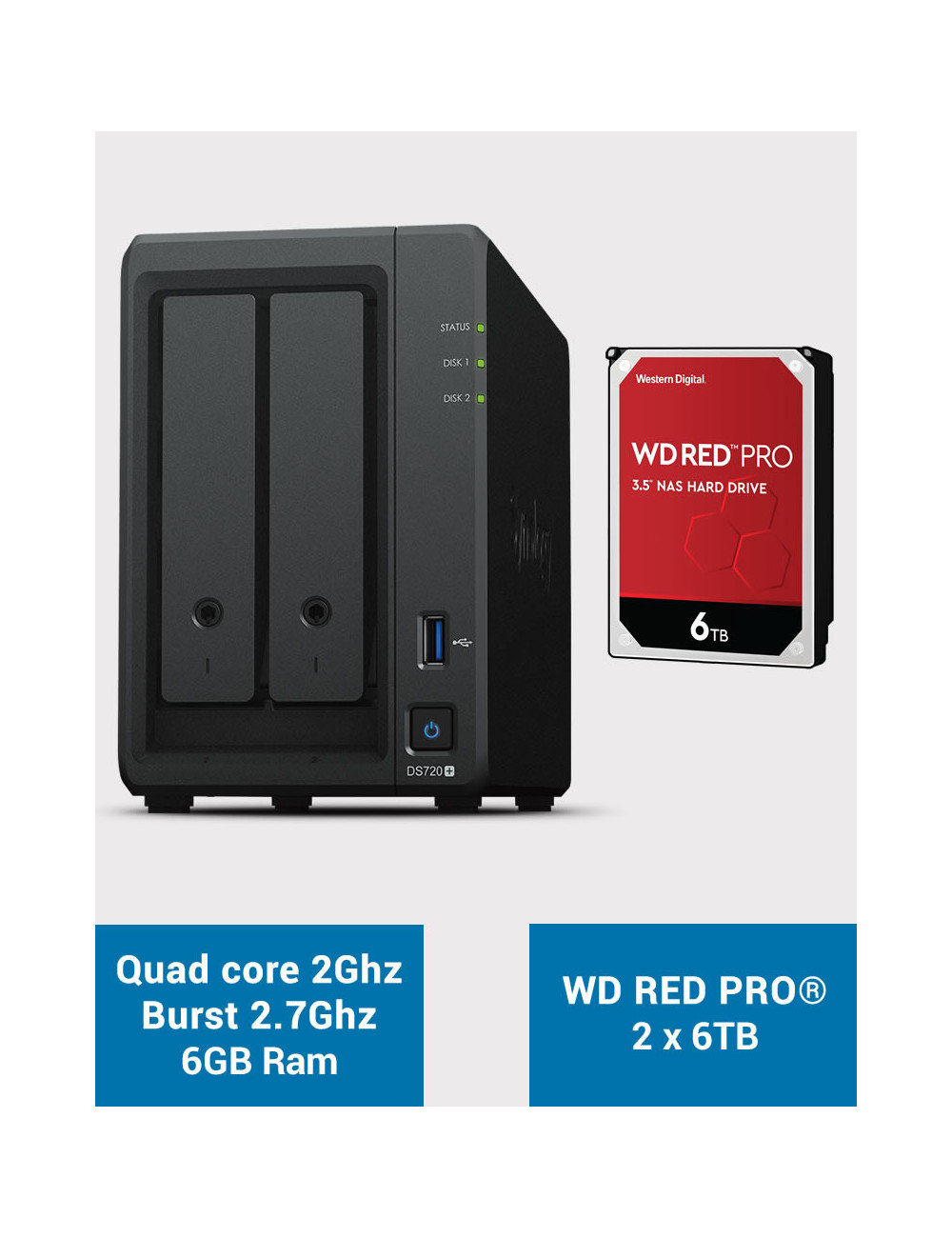 Synology DS720+ 6Go Serveur NAS WD RED PRO 12To (2x6To)
