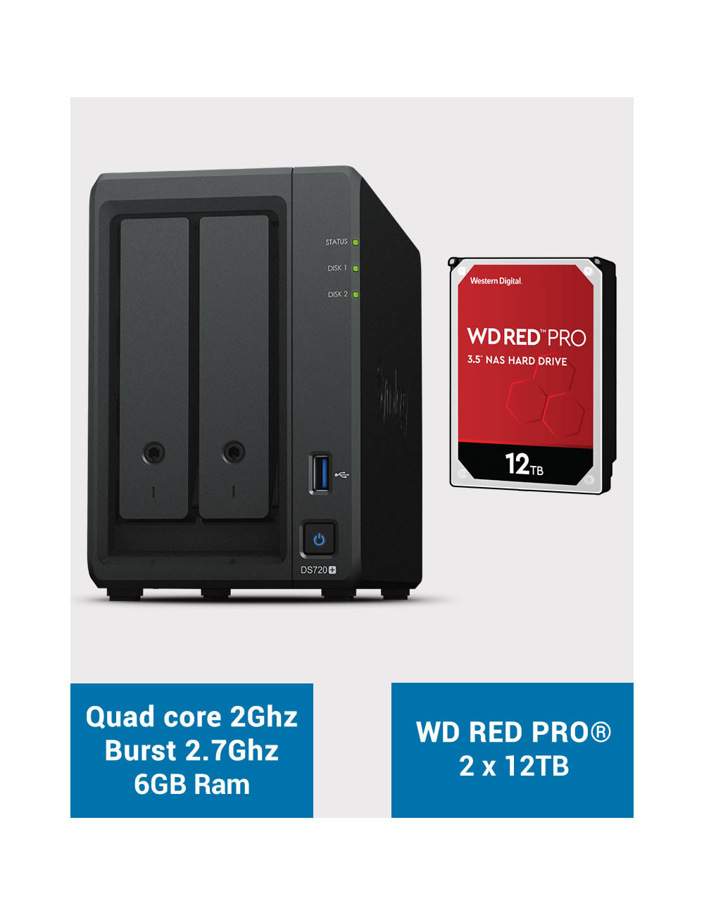 Synology DS720+ 6Go Serveur NAS WD RED PRO 24To (2x12To)