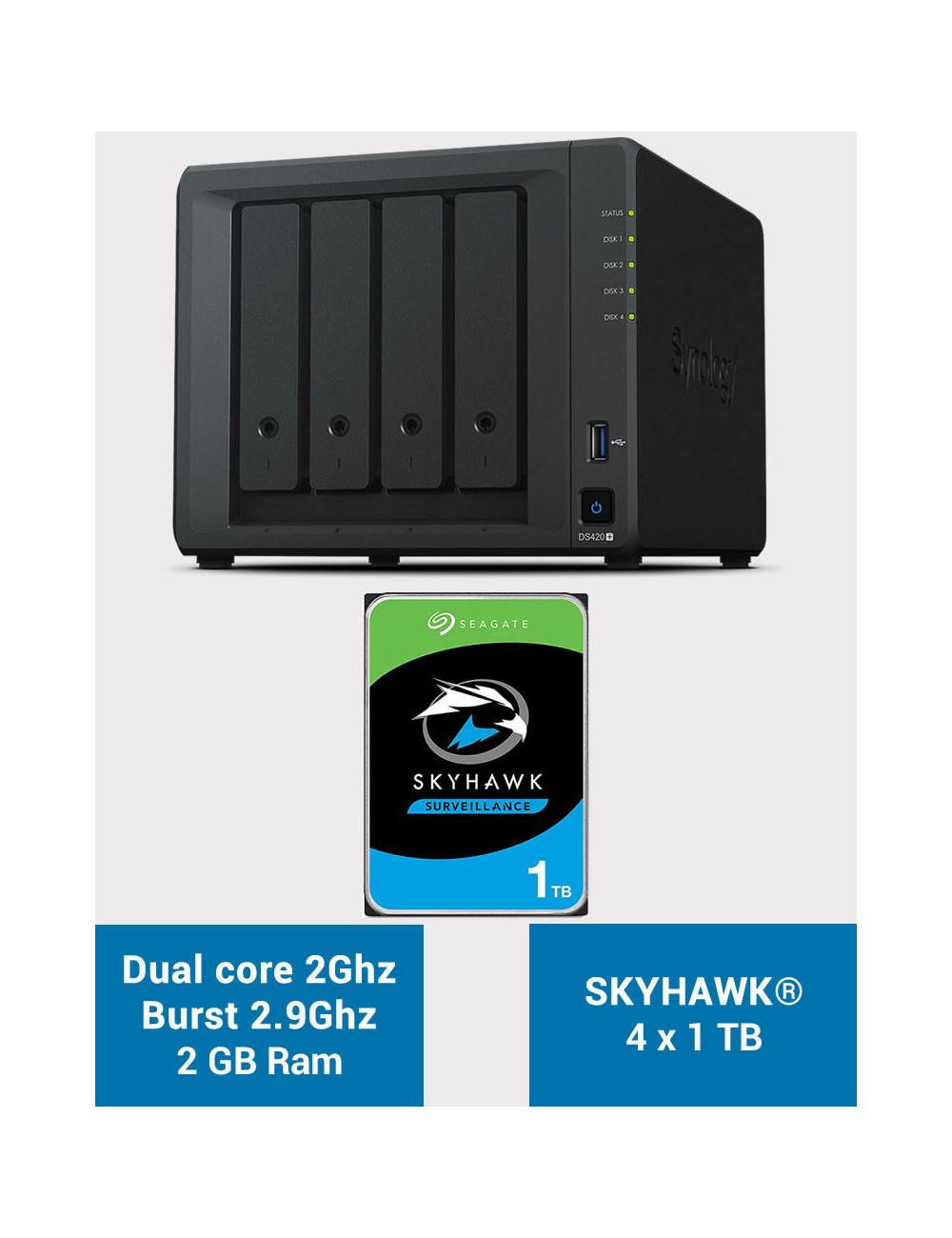 Synology DS420+ 2Go Serveur NAS SKYHAWK 4To (4x1To)