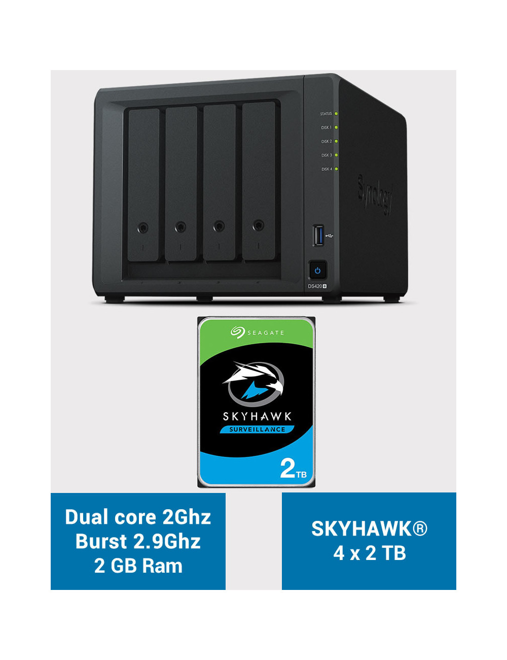 Synology DS420+ 2Go Serveur NAS SKYHAWK 8To (4x2To)