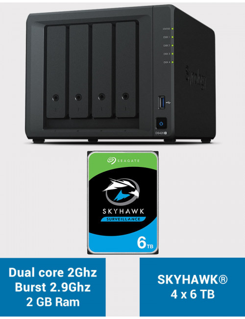 Synology DS420+ 2Go Serveur NAS SKYHAWK 24To (4x6To)