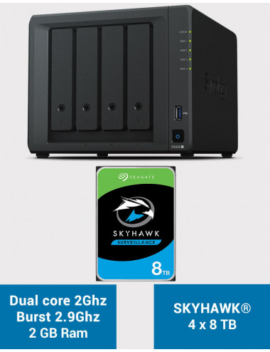Synology DS420+ 2Go Serveur NAS SKYHAWK 32To (4x8To)