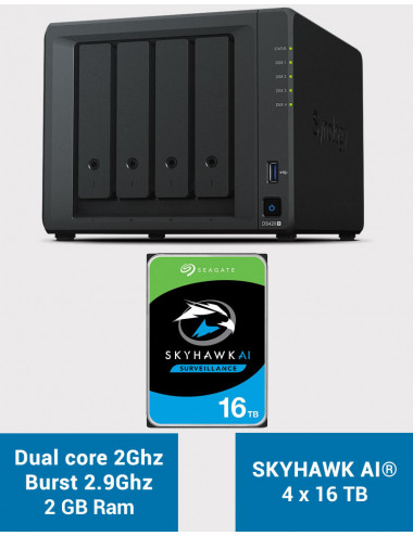 Synology DS420+ 2Go Serveur NAS SKYHAWK 64To (4x16To)