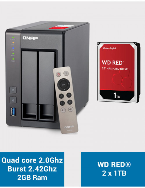 QNAP TS-251+ Serveur NAS WD RED 2 To