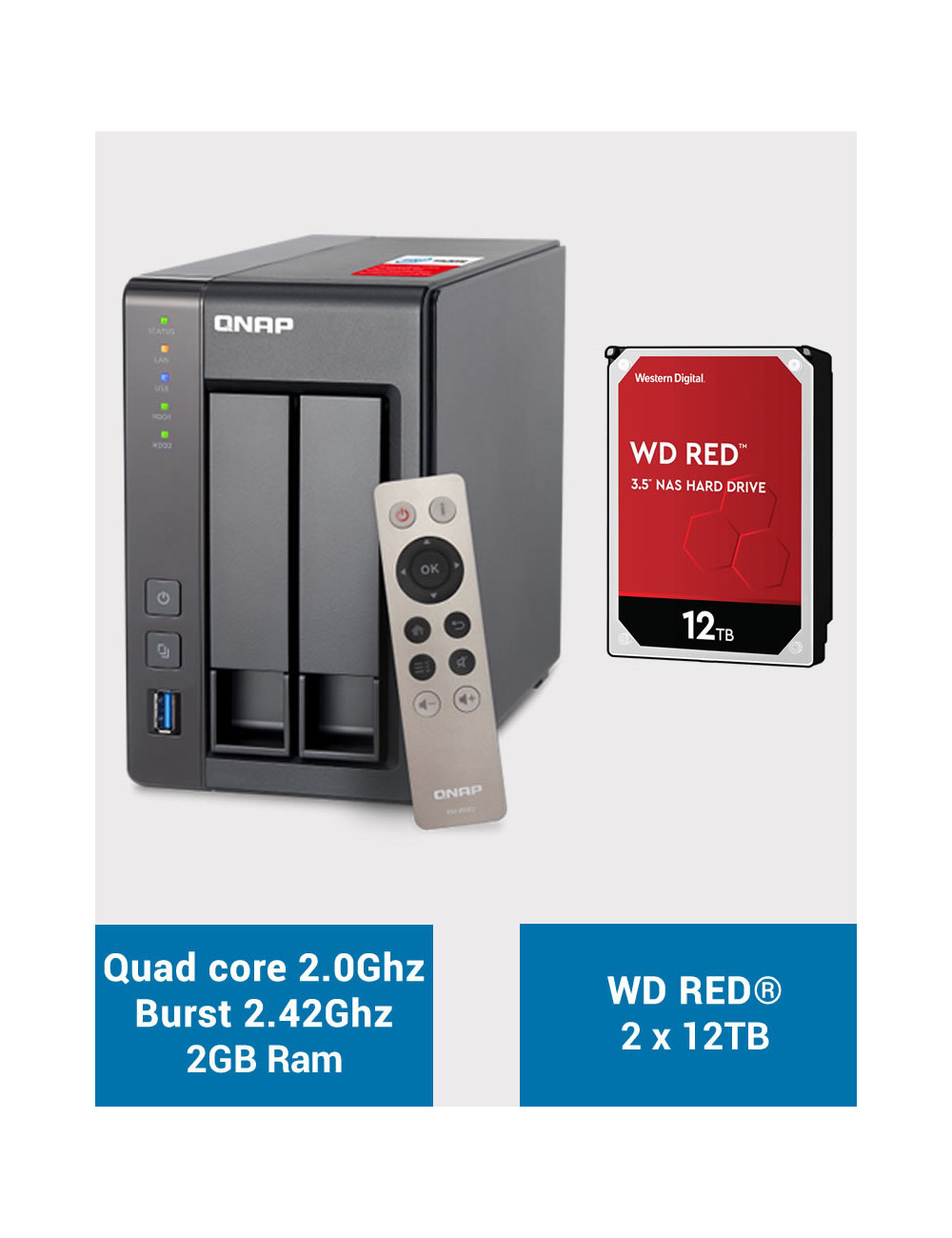 QNAP TS-251+ Serveur NAS WD RED 24 To