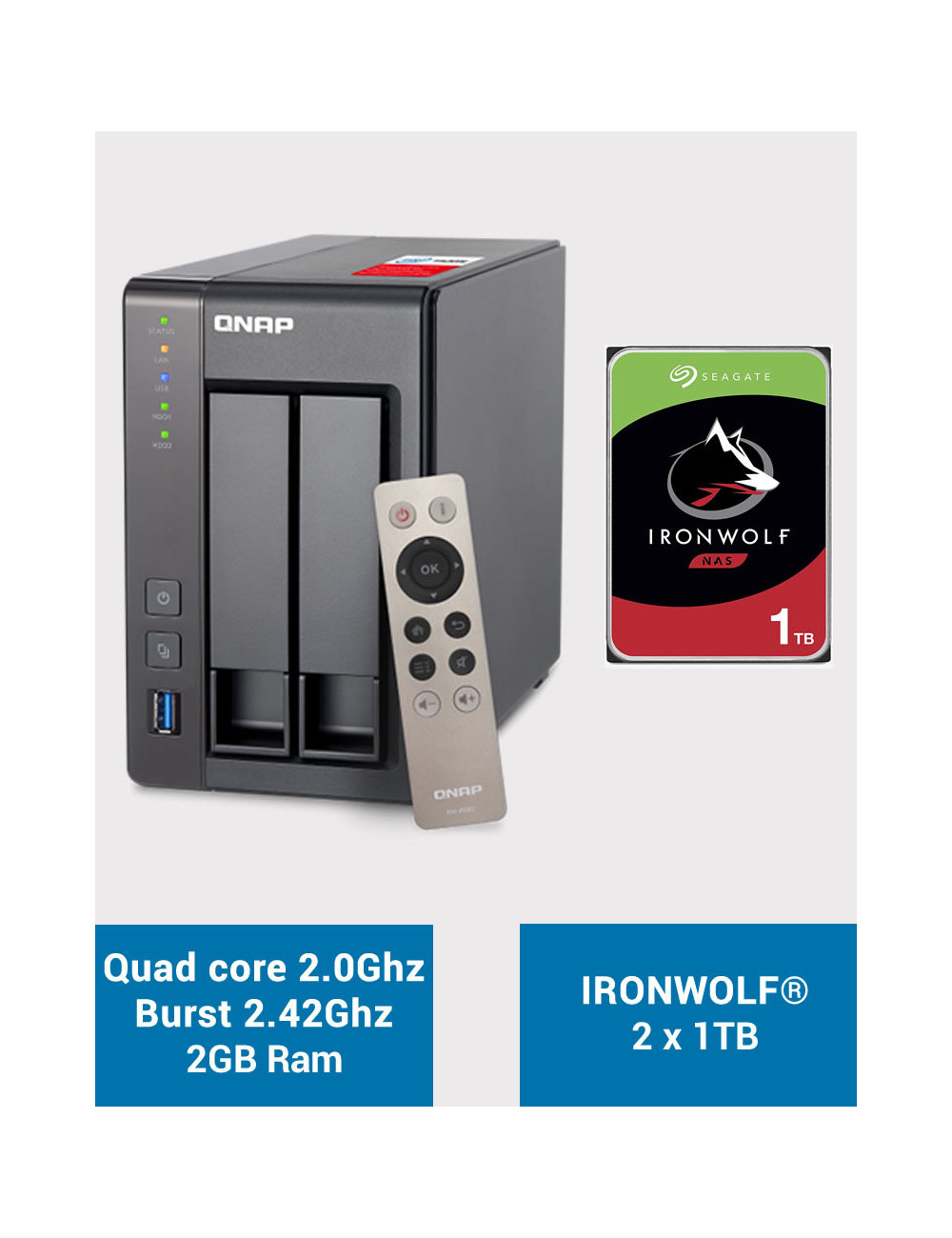 QNAP TS-251+ Serveur NAS IRONWOLF 2 To