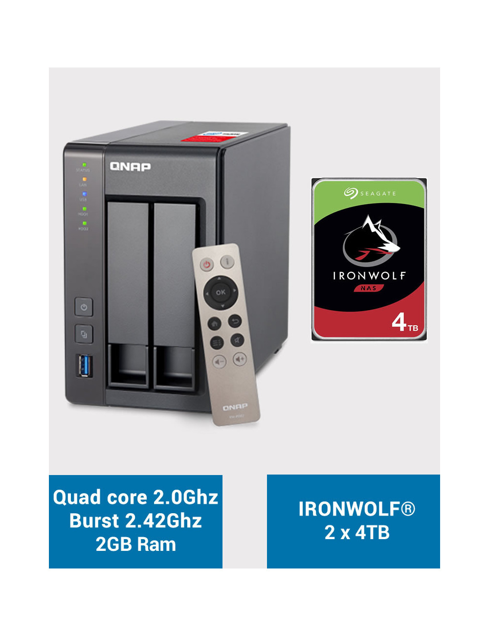 QNAP TS-251+ Serveur NAS IRONWOLF 8 To