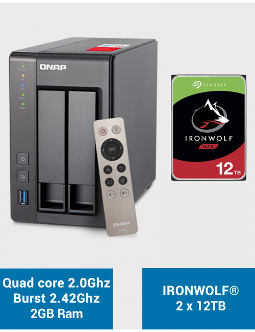 QNAP TS-251+ Serveur NAS IRONWOLF 24 To
