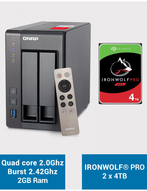QNAP TS-251+ Serveur NAS IRONWOLF PRO 8To (2x4To)