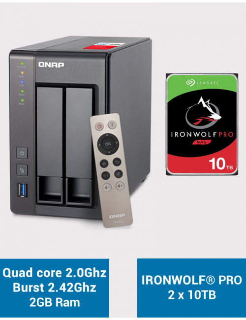 QNAP TS-251+ Serveur NAS IRONWOLF PRO 20To (2x10To)