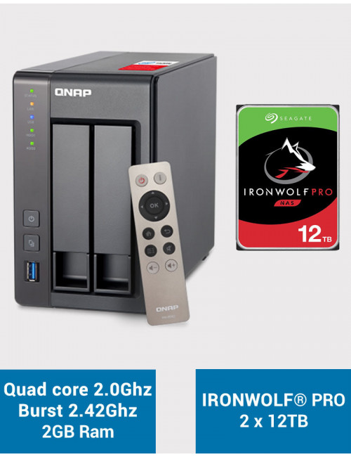 QNAP TS-251+ Serveur NAS IRONWOLF PRO 24To (2x12To)