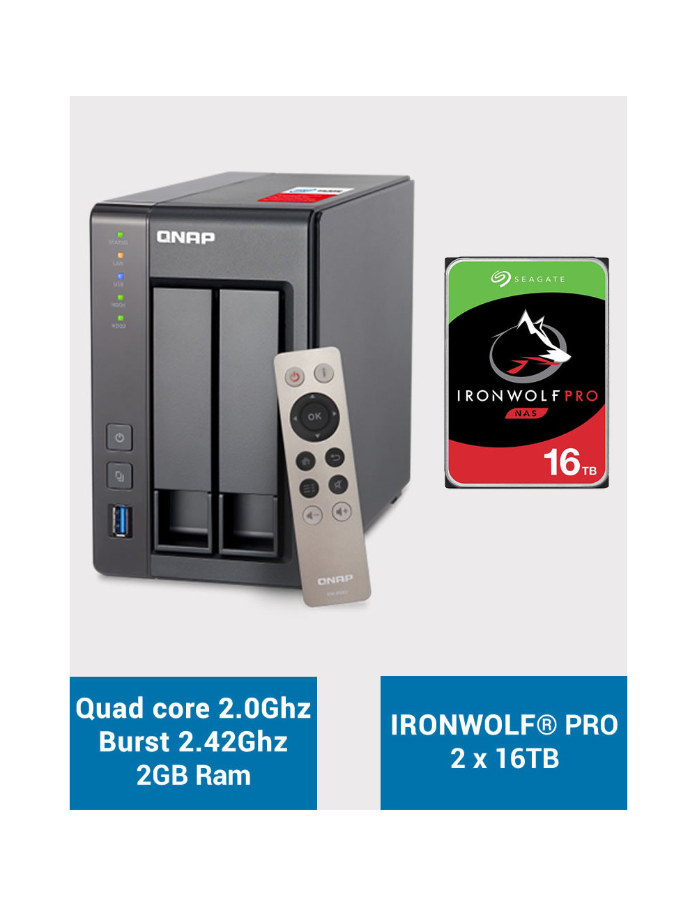 QNAP TS-251+ Serveur NAS IRONWOLF PRO 32To (2x16To)