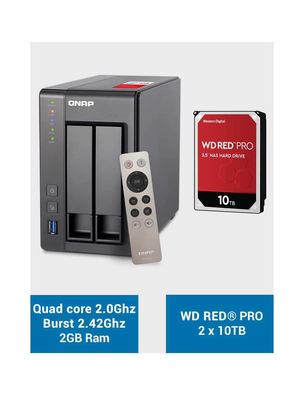 QNAP TS-251+ Serveur NAS WD RED PRO 20To (2x10To)